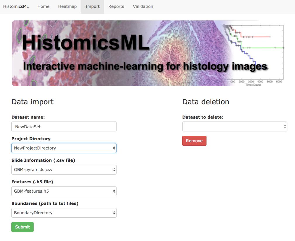 Importing datasets — HistomicsML 1 0 documentation